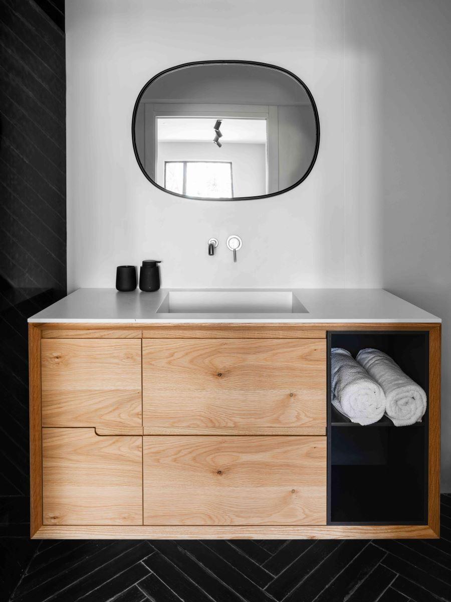 משטח קוריאן עם כיור רחצה לחדר אמבטיה